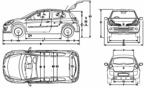 Renault Clio Sport Wiring Diagram : Blueprints gt cars renault clio renaultsport