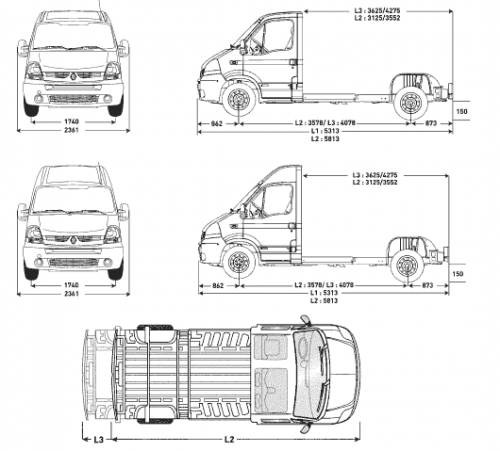 Blueprints > Cars > Renault > Renault Master Cab Floors (2007