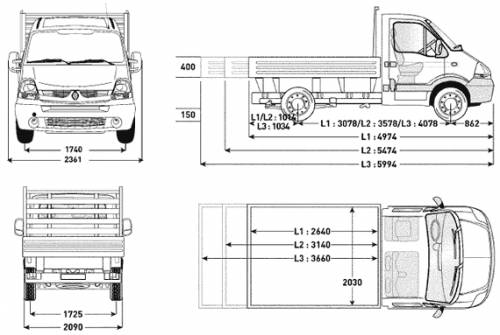 Transit Dropside Dimensions >> Blueprints > Cars > Renault > Renault Master Dropside flatbed single and crew cab (2007)