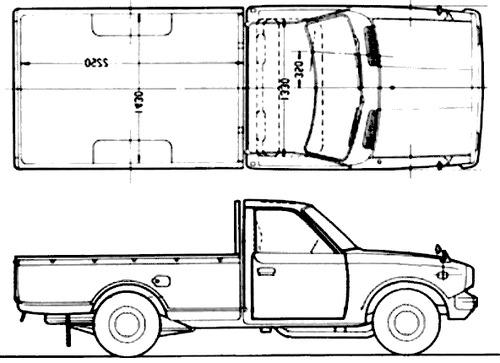 Free Hilux Blueprints: Blueprints > Cars > Toyota > Toyota Hilux LWB (1972