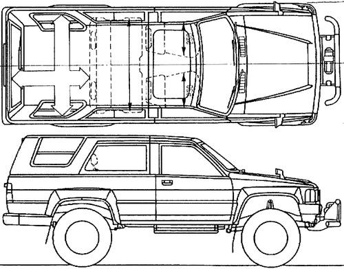 Free Hilux Blueprints: Blueprints > Cars > Toyota > Toyota Hilux Surf (1984