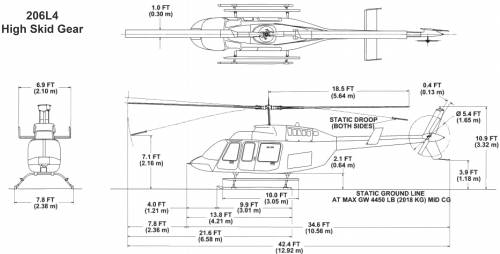 Bell 206L4 Longranger IV High Skid Gear