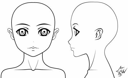 Anime Girl Model Head Sheet