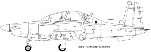 Beech Raytheon T-6A side view