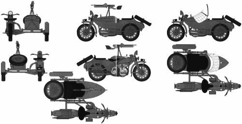 IJA Type 97 Motorcycle Rikuo + Sidecar