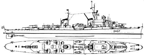 NMF Chateaurenault D607 1954 (ec RN Attilio Regolo Light Cruiser)