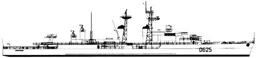 NMF Dupetit-Thouars D625 1964 ( T 47 Surcouf class Destroyer)