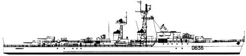NMF La Bourdonnais D636 1960( T 53 class Destroyer)