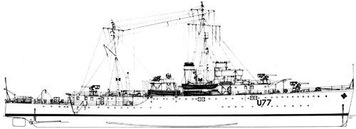 HMAS Yarra U77 ( Grimsby class Sloop) (1940)