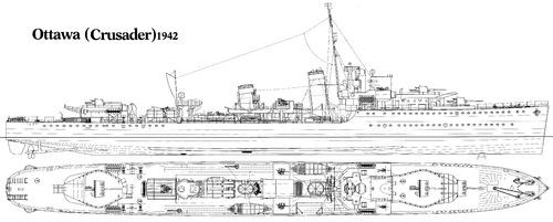 HMCS Ottawa (ex-HMS Crusader H60 Destroyer) (1942)