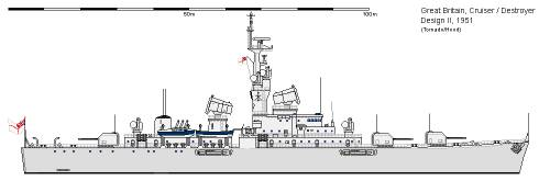 GB DD Cruiser-Destroyer Design II (1951)