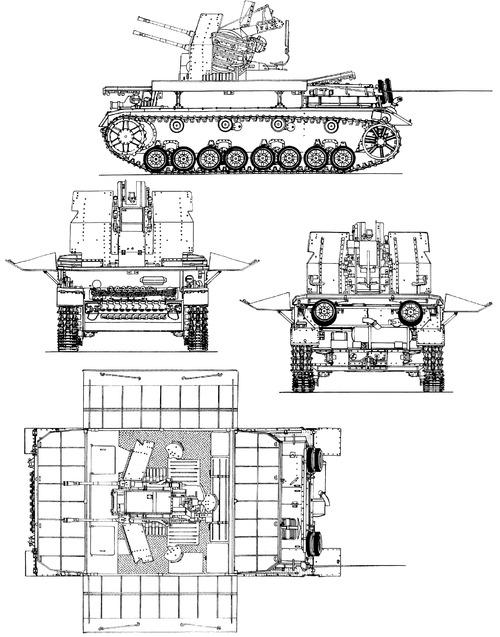 2cm Flakvierling auf Fahrgestell Flakpanzer IV Mobelwagen