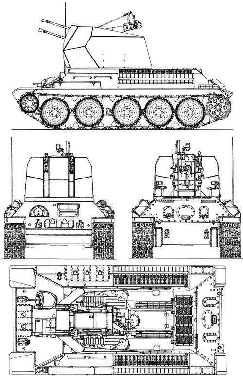 2cm Flakvierling 38 auf Pz.Kpfw.T34(r)