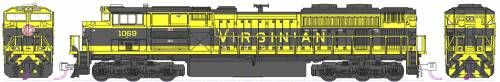 EMD SD70ACe NS Heritage Virginian no 1069