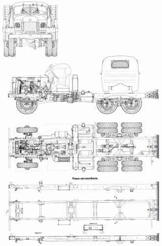 ZIS-151 (same to ZIL-151) Chassis arrangement