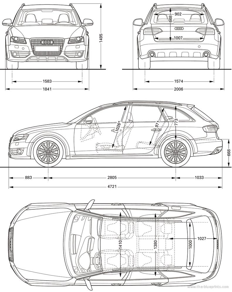 Audi A6 2005 Dimensions >> Blueprints > Cars > Audi > Audi A4 allroad quattro (2010)