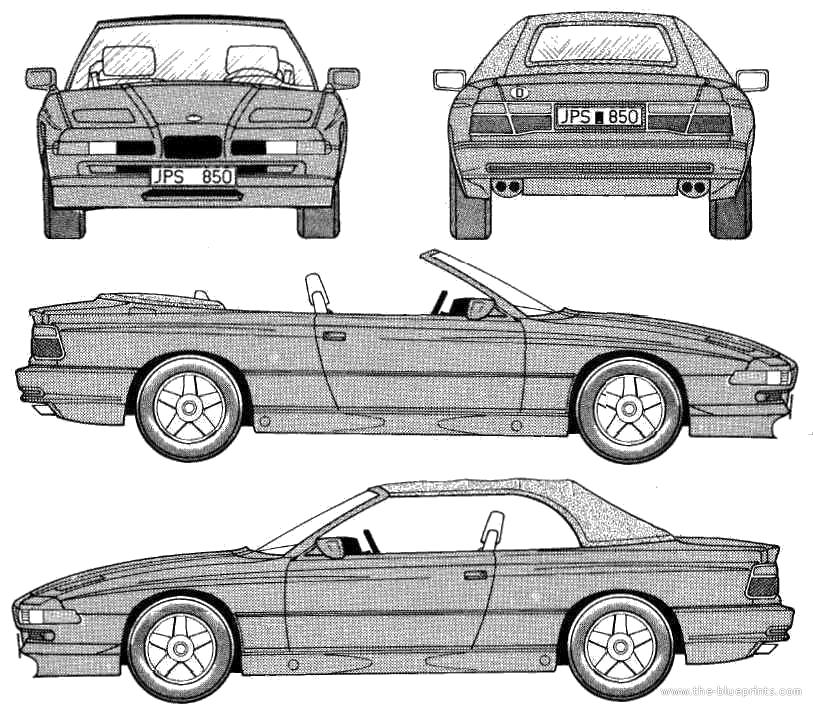 Blueprints > Cars > BMW > BMW 8-Series 850i Cabriolet (E31