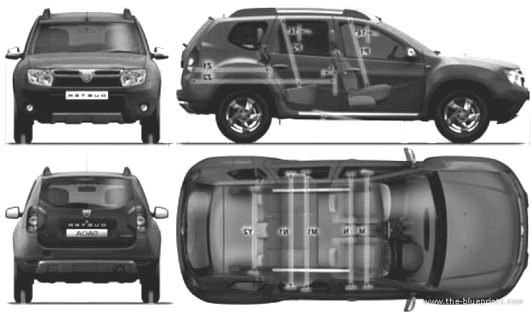 The-Blueprints.com - Blueprints > Cars > Dacia > Dacia Duster (2010)