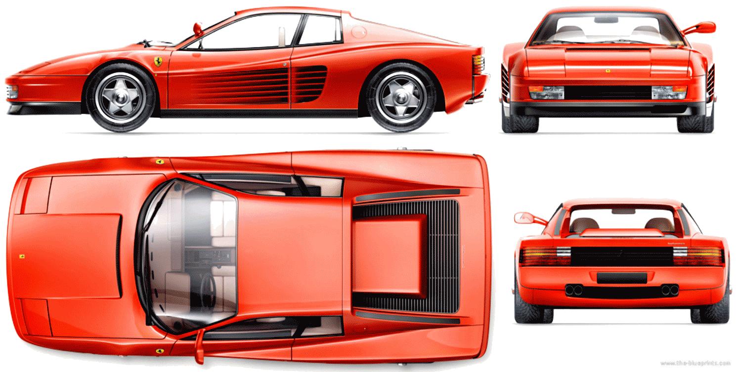 Blueprints > Cars > Ferrari > Ferrari Testarossa (1984)