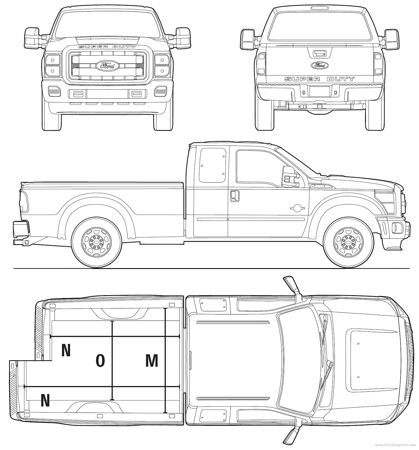 Line Art Xl 2011 : Blueprints gt cars ford super duty extended cab