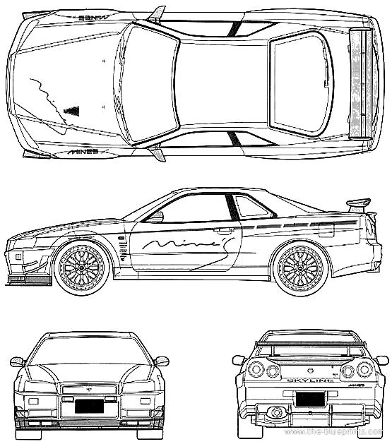 Blueprints > Cars > Nissan > Nissan Skyline GT-R R34