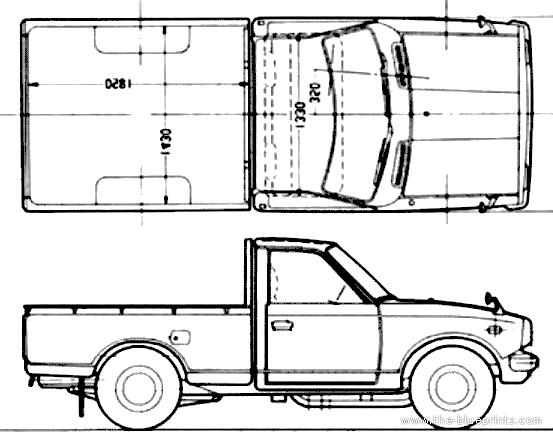Free Hilux Blueprints: Blueprints > Cars > Toyota > Toyota Hilux Swb (1972