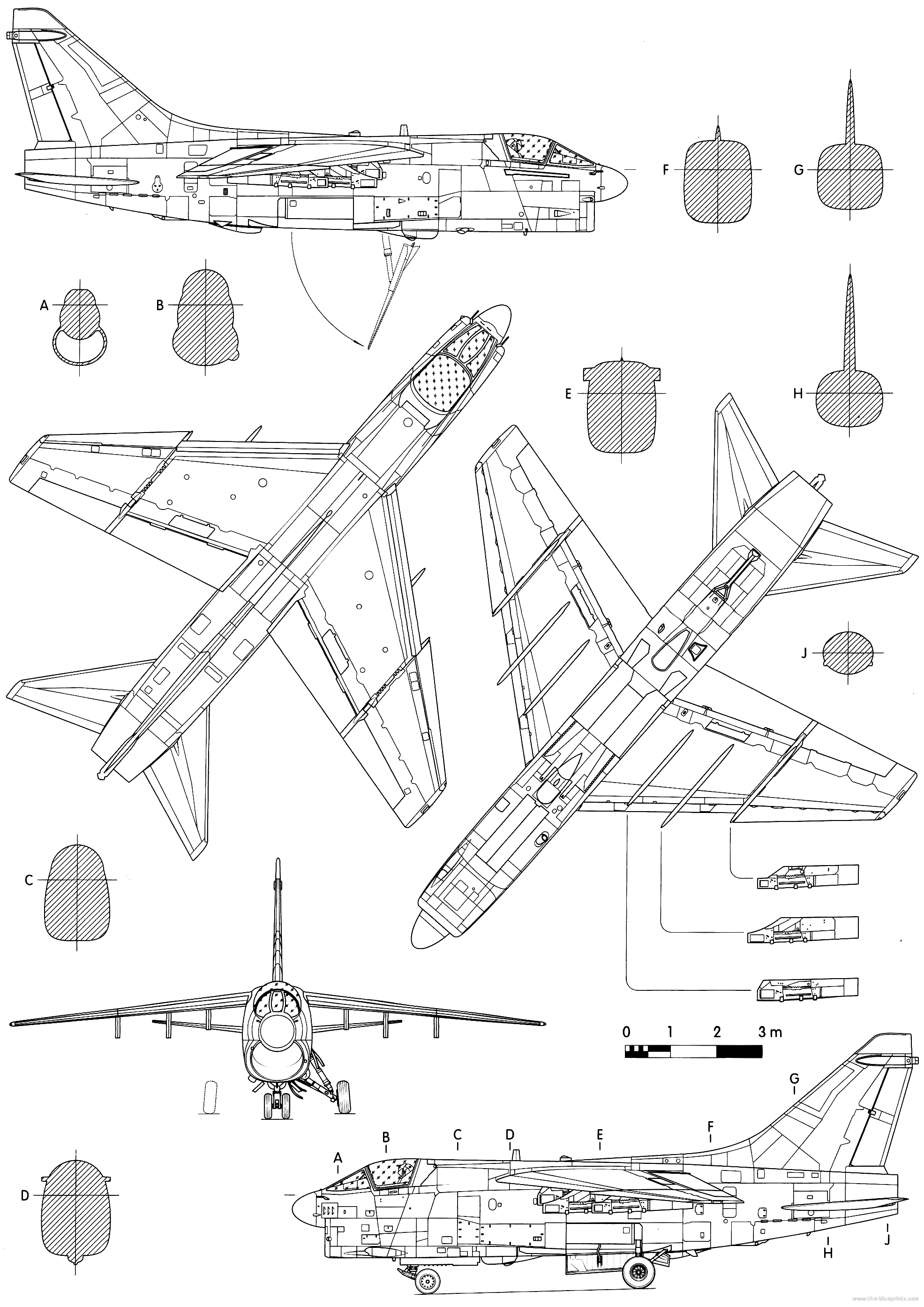 Submit Vat Online >> Blueprints > Modern airplanes > Vought > Vought A-7H Corsair II