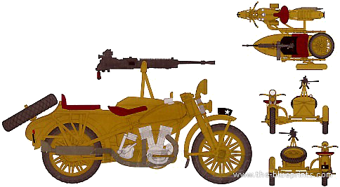 IJA Type 97 Motorcycle Rikuo + Type 92 MG
