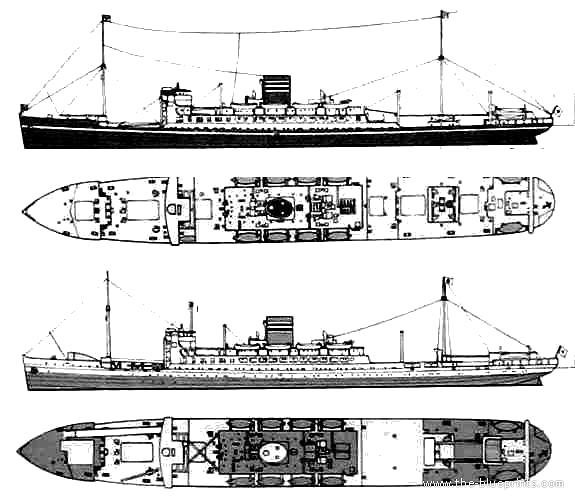 Cargo Ship Blueprint : Blueprints gt ships japan ijn hikawamaru cargo