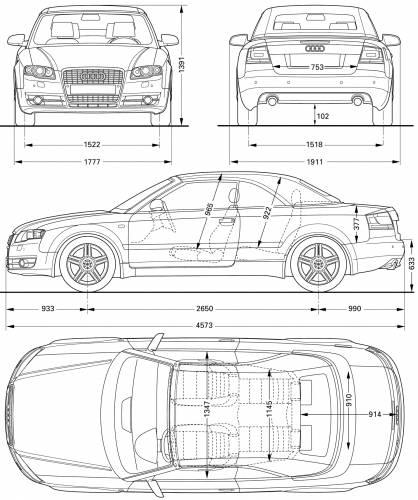 the blueprints cars audi audi a4 2006. Black Bedroom Furniture Sets. Home Design Ideas