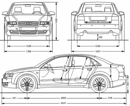 the blueprints cars audi audi a4 limousine. Black Bedroom Furniture Sets. Home Design Ideas