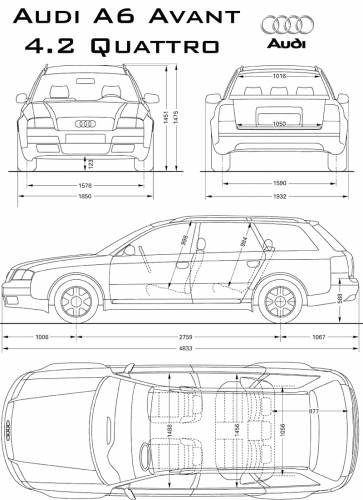 the blueprints cars audi audi a6 quattro avant. Black Bedroom Furniture Sets. Home Design Ideas