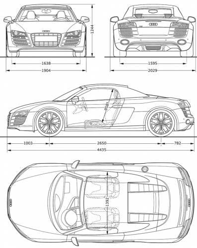 Blueprints cars audi audi r8 spyder 52 fsi quattro 2011 audi r8 spyder 52 fsi quattro 2011 malvernweather Image collections