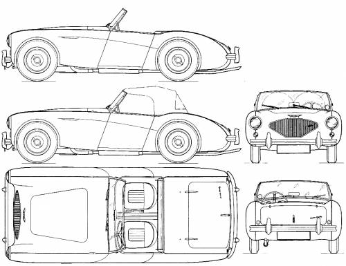 Austin Healey 100 1953 Konstruktionszeichnung// Blueprint.