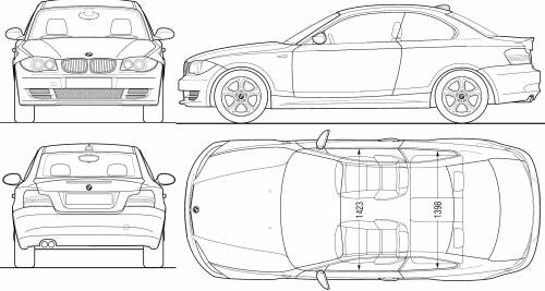 the blueprints cars bmw bmw 1 series coupe e82 2008. Black Bedroom Furniture Sets. Home Design Ideas