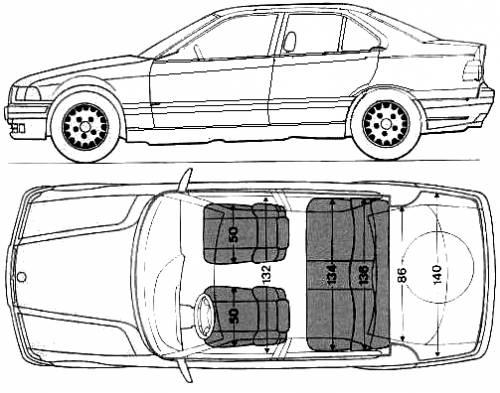 Blueprints Cars Bmw Bmw 3 Series 320i E36 1992