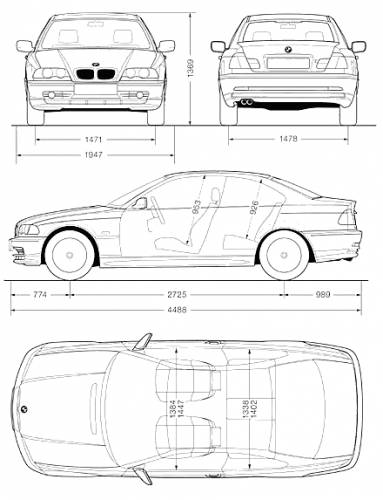the blueprints cars bmw bmw 3 series coupe e46. Black Bedroom Furniture Sets. Home Design Ideas