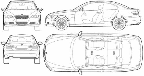 the blueprints cars bmw bmw 3 series coupe e92 2006. Black Bedroom Furniture Sets. Home Design Ideas