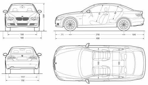 the blueprints cars bmw bmw 3 series coupe e92 2007. Black Bedroom Furniture Sets. Home Design Ideas