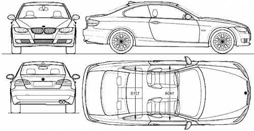 the blueprints cars bmw bmw 3 series coupe e92 2009. Black Bedroom Furniture Sets. Home Design Ideas
