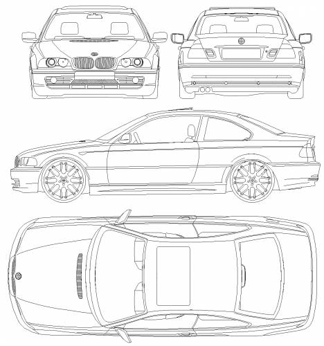 the blueprints cars bmw bmw 3 series coupe with csl rims e46 2001. Black Bedroom Furniture Sets. Home Design Ideas