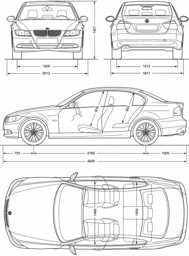 the blueprints cars bmw bmw 3 series e90 2005. Black Bedroom Furniture Sets. Home Design Ideas