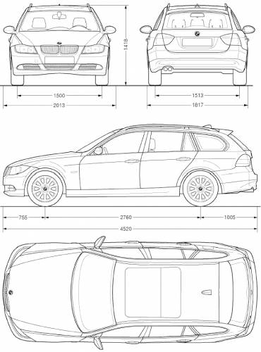the blueprints cars bmw bmw 3 series touring e91 2005. Black Bedroom Furniture Sets. Home Design Ideas
