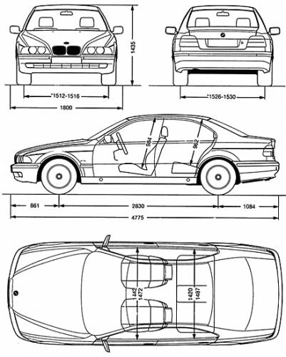 the blueprints cars bmw bmw 5 series sedan e39. Black Bedroom Furniture Sets. Home Design Ideas