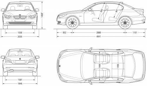 the blueprints cars bmw bmw 5 series sedan e60 2007. Black Bedroom Furniture Sets. Home Design Ideas