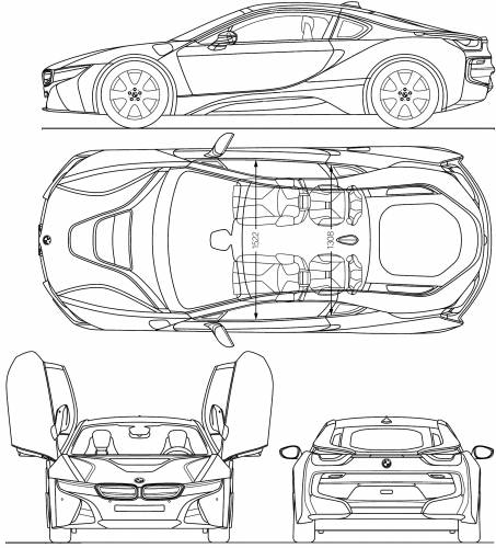 Blueprints Cars Bmw Bmw I8 2013