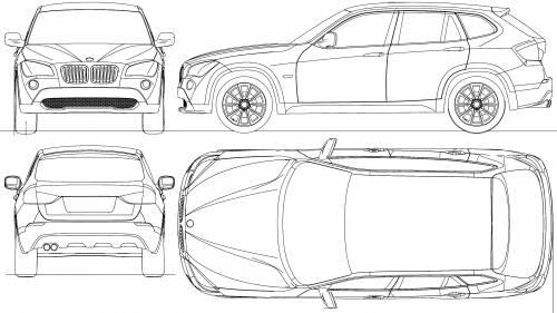 Blueprints Cars Bmw Bmw X1 E84 2009