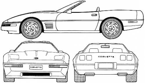 blueprints  u0026gt  cars  u0026gt  chevrolet  u0026gt  chevrolet corvette convertible  1992