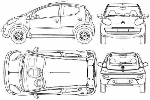 blueprints cars citroen citroen c1 5 door 2005. Black Bedroom Furniture Sets. Home Design Ideas