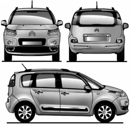 the blueprints cars citroen citroen c3 picasso 2009. Black Bedroom Furniture Sets. Home Design Ideas